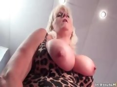 Busty mature whore gets horny dildo