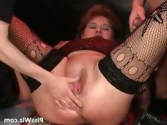Three guys and one fat slut enjoy some