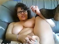 Amateur chubby milf dildo webcam show