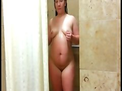 Bbw in shower with ride at the end