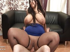 Bbw french brunette banged and jizzed..