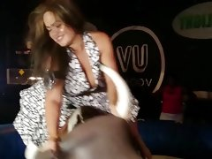 Upskirt on mechanical bull