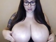 Busty bbw with glasses on cam