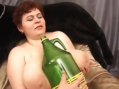 Fat russian mature masturbates