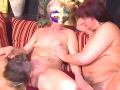 Threesome scenes with three mature..