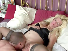 Chubby blonde gets her pussy eaten and..
