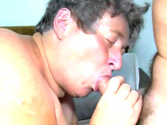 Granny gives blowjob and takes toy in..