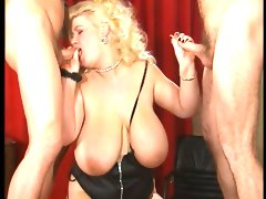 Massive babe and two cocks dbm video