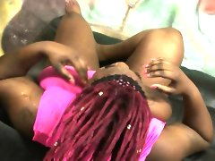 Chubby black ghetto slut gagging on..