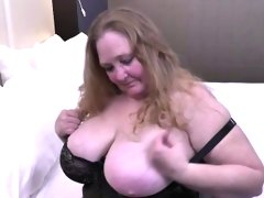 Fully shaved fat mature lady toying..