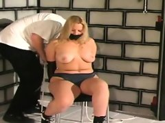 Chunky blonde juggie is tortured and..